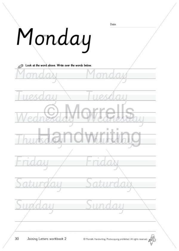 Morrells Joining Morrells Letters workbook 2 inside monday
