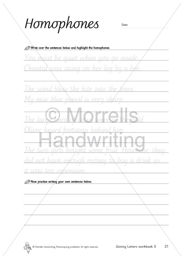 Morrells Joining Morrells Letters workbook 3 inside homophones