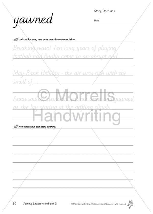 Morrells Joining Morrells Letters workbook 3 inside yawned