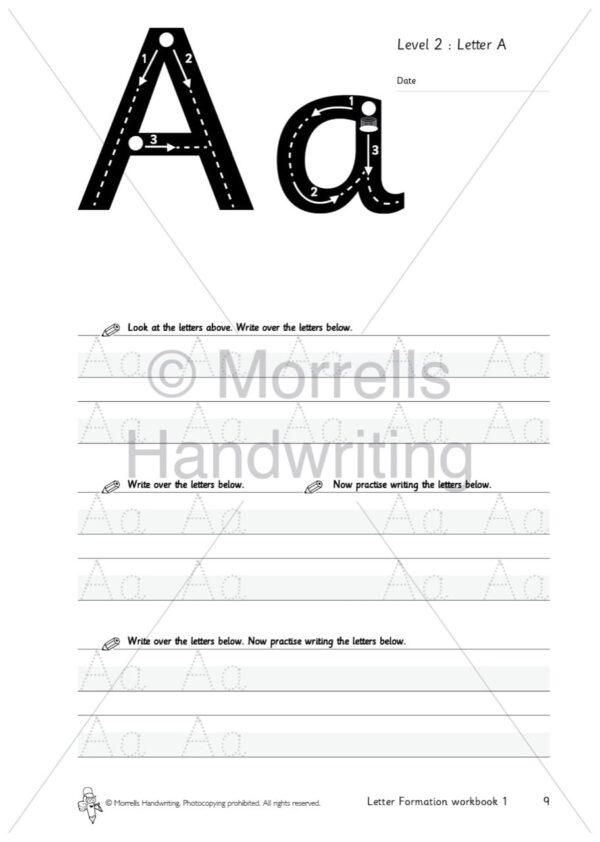 Morrells Letter Formation workbook 1 inside a
