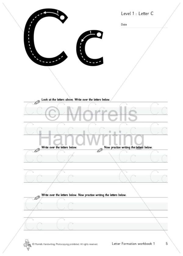 Morrells Letter Formation workbook 1 inside c