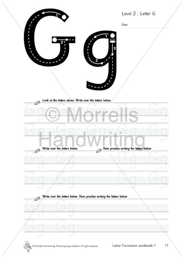 Morrells Letter Formation workbook 1 inside g