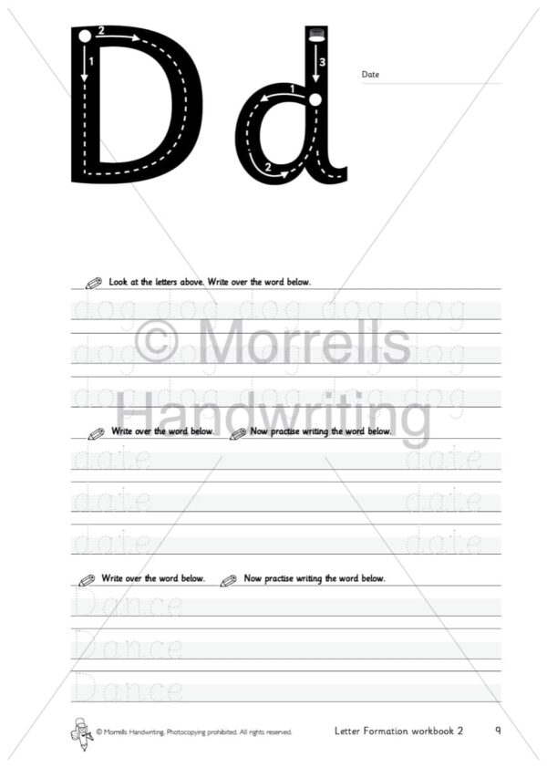 Morrells Letter Formation workbook 2 inside d