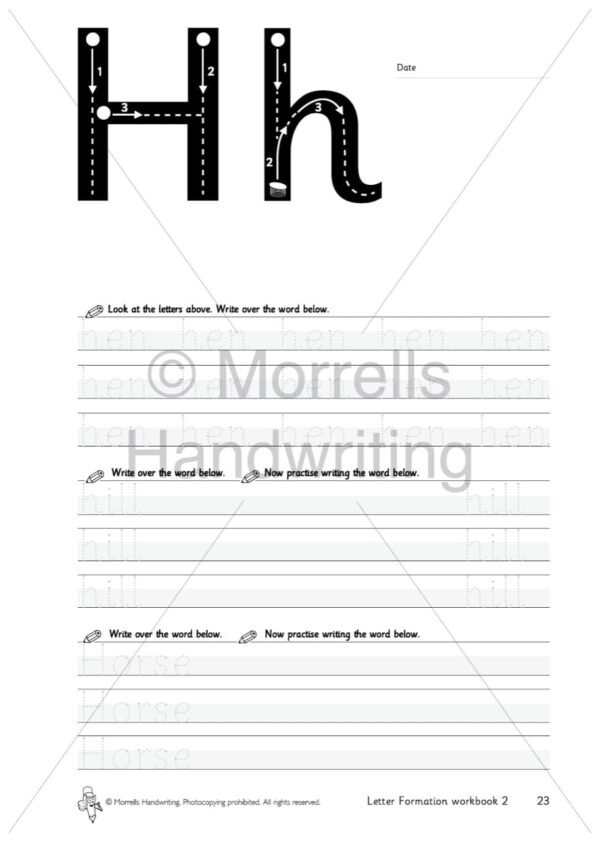 Morrells Letter Formation workbook 2 inside h