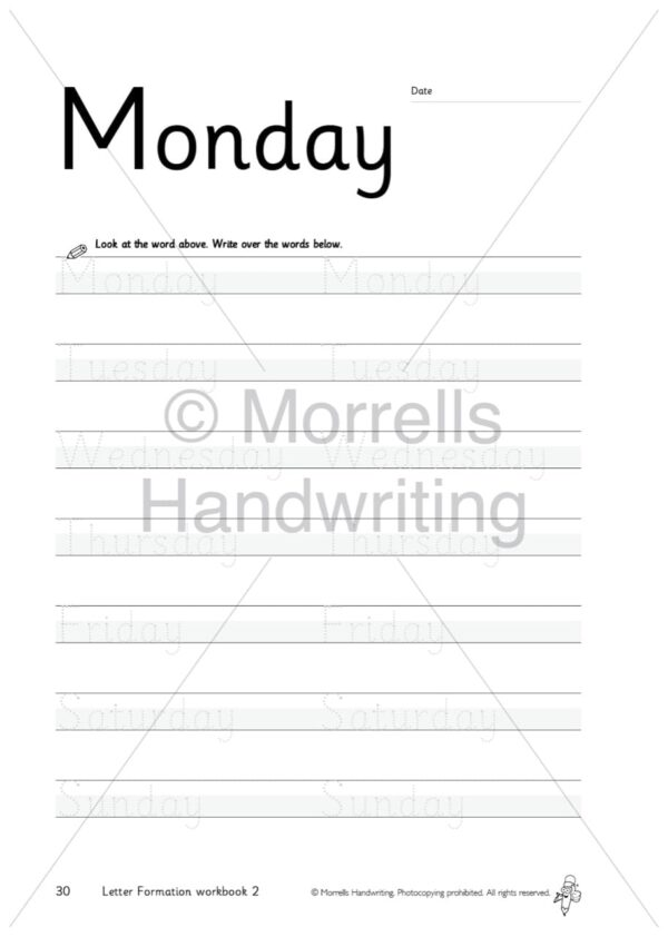 Morrells Letter Formation workbook 2 inside monday