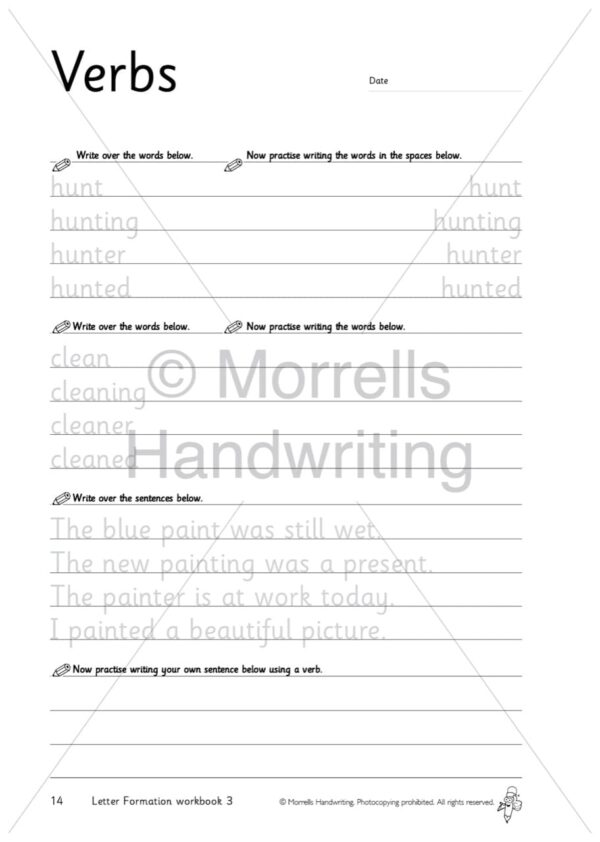 Morrells Letter Formation workbook 3 inside verbs