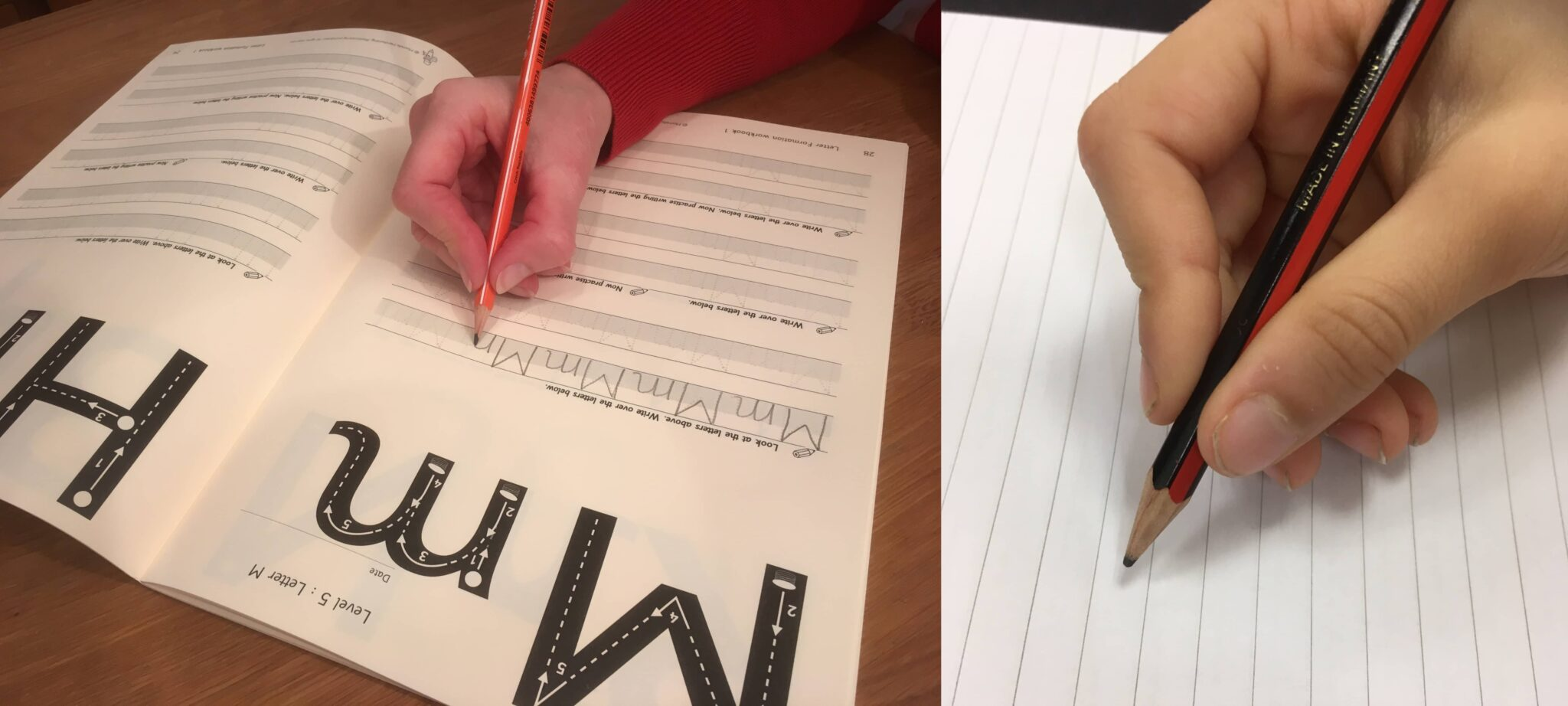 Examples of correct pencil grip