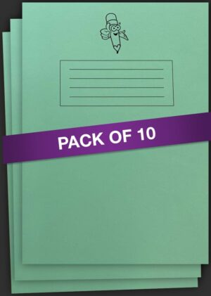 Green Book Wide Lined Handwriting Exercise Book 10 pack