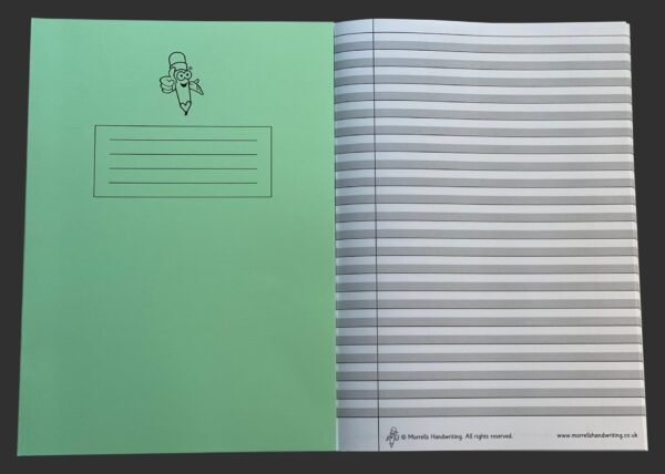Green Book Wide Lined Handwriting Exercise Book inside